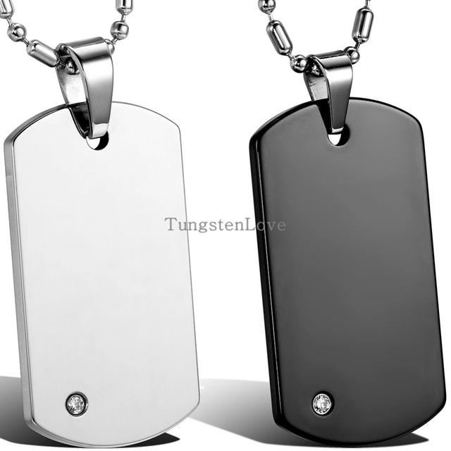 High quality free chain fashion mens tungsten carbide dog tag high quality free chain fashion mens tungsten carbide dog tag pendant necklaces punk rock style jewelry aloadofball Gallery