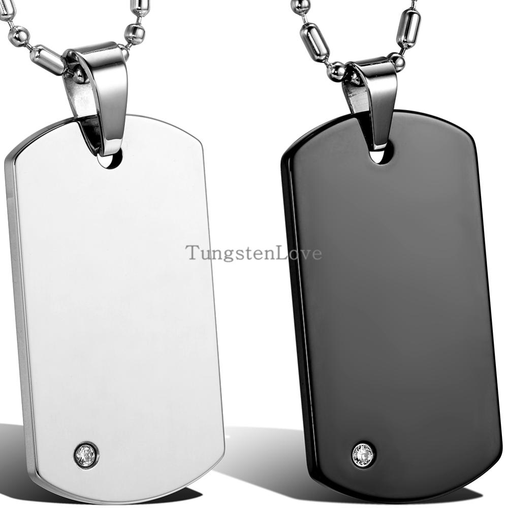 HOT SELL Tungsten Carbide Necklace Men Dog Tag Pendant Necklace Black And Free Shipping