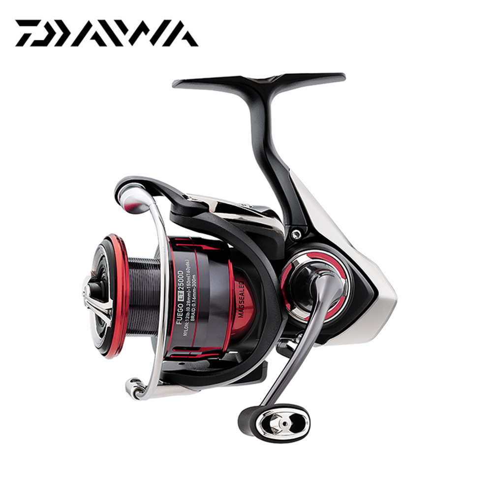 2018 New Daiwa FUEGO LT Spinning Reel 6.2/ 5.2 Gear Ratio 6+1 Ball Bearings 1000-6000 Series Carbon Light Air Rotor Fishing Reel 2018 new daiwa legalis lt spinning reel 5 1 bb 1000d 2500 3000c 4000d cxh 5000d cxh 6000d h 6 2 5 7 5 2 gear ratio fishing reel