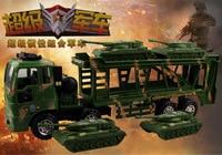 2016 novo super grande inércia caminhão de transporte militar duplo tanque de coleta de reboque carro pequeno carro de brinquedo das crianças do presente de aniversário