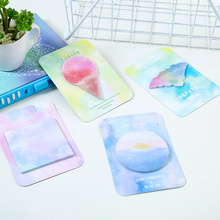 8 pcs Kawaii watercolor sticky note Korean rainbow fruit square diary sticker Self-adhesive Nota de papel School supplies FM952