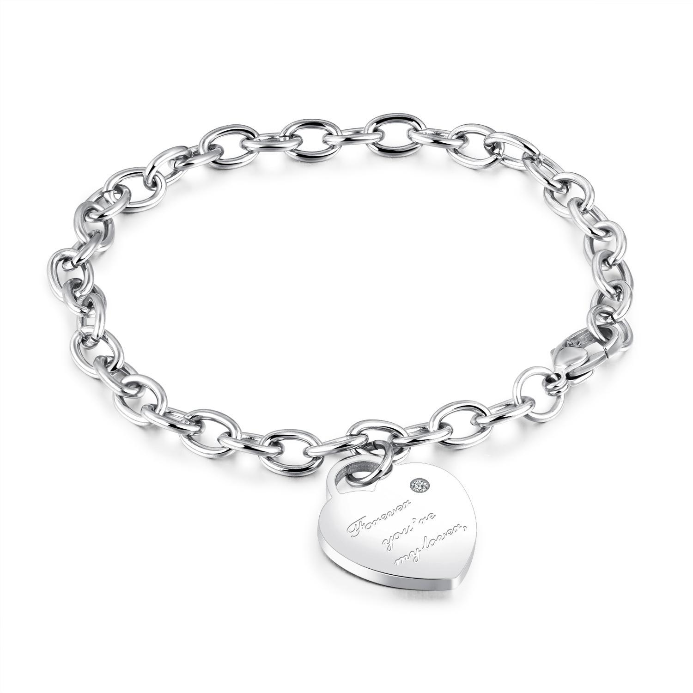 Love Heart Bracelet Bangle Pendant Women Stainless Steel Fashion Gold Color Charm Brand Tiff Design Elegant