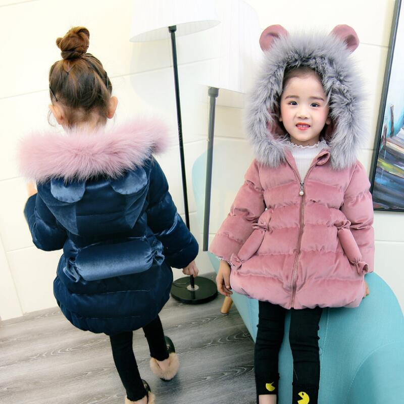 748376c3907d New Spring Winter Jacket Children Girls Down Coat Parka Ear Fur Hooded  Cotton Kids Warm Thick