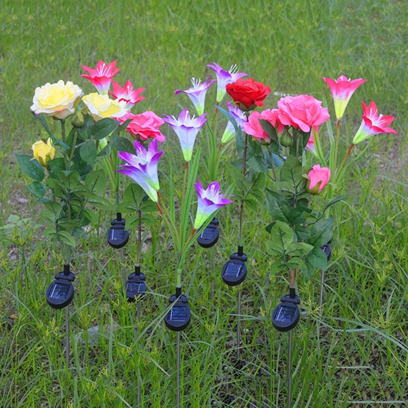 4 Heads Solar Power Lily Flower LED Light Garden Solar Lamp Yard Decorative Lawn Lamp Outdoor Lighting Solar Simulation Lantern