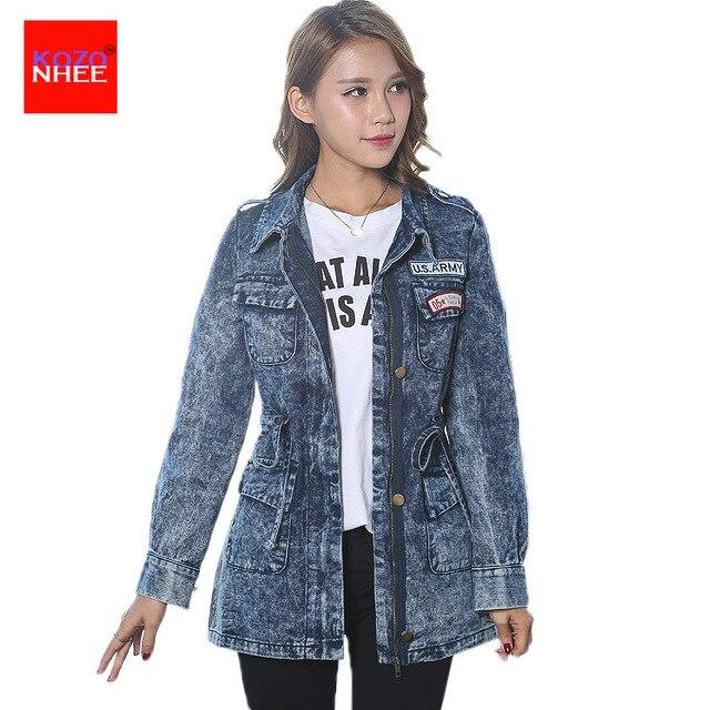 Online Shop Snowflake Denim jacket Women zipper Elastic Waist ...