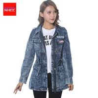 Snowflake Denim jacket Women zipper Elastic Waist female Jean jacket long Coat Large size spring jackets for women
