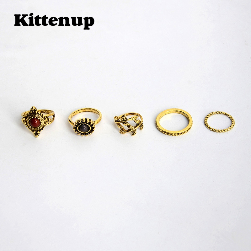Kittenup 5Pcs/Sets Fashion Antique Gold Silver Color Vintage Rings for Women Finger Leaf Joint Knuckle Jewelry