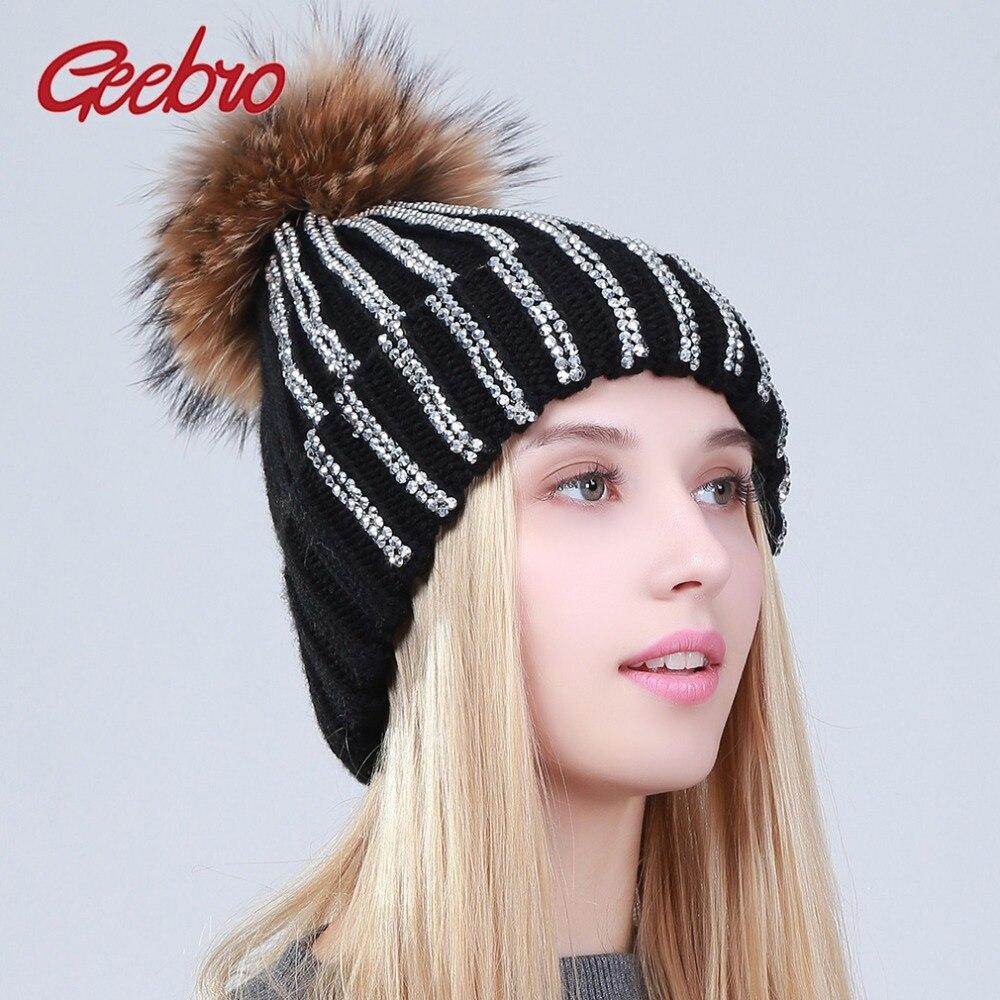 Geebro Women's Rhinestones   Beanie   Hat Winter Warm Acrylic Knitted   Beanies   with Raccoon Fur Pompom Ladies Knitting   Skullies   Caps