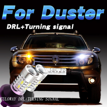 Car-styling For Renault Duster LED DRL Daytime Running Lights With Turning Signal External Day Light DRL Accessories White 12V
