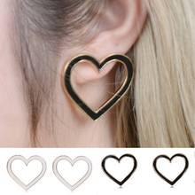 Lovely Heart Shape Earrings Women New Black White Geometric Love Stud Jewelry Simple pendientes Girlfriend Gifts