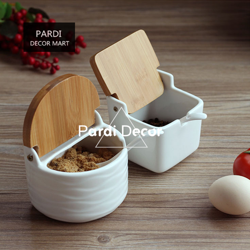 White color creative seasoning cans square and round shape salt sugar storage can kitchen tools 1set/lot