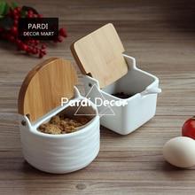 Weiße farbe kreative gewürzdosen quadratische und runde form salz zucker lagerung küche werkzeuge 1 satz/los