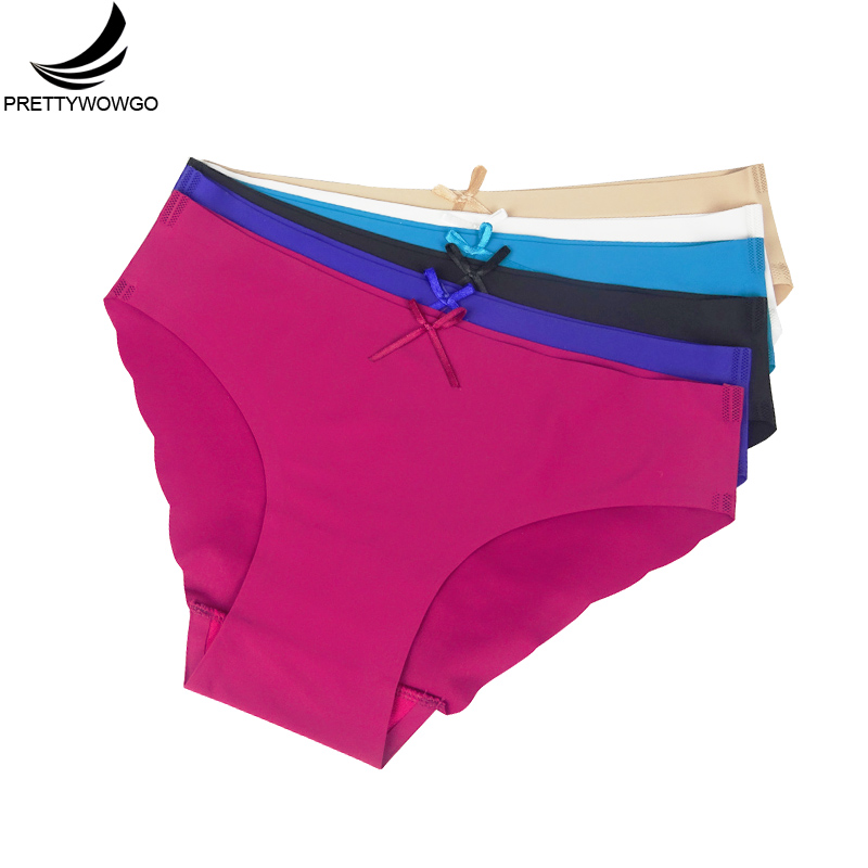 Prettywowgo 6 pcs /lot 2019 New Arrival Summer 6 Candy Color Seamless Women Panties 9099