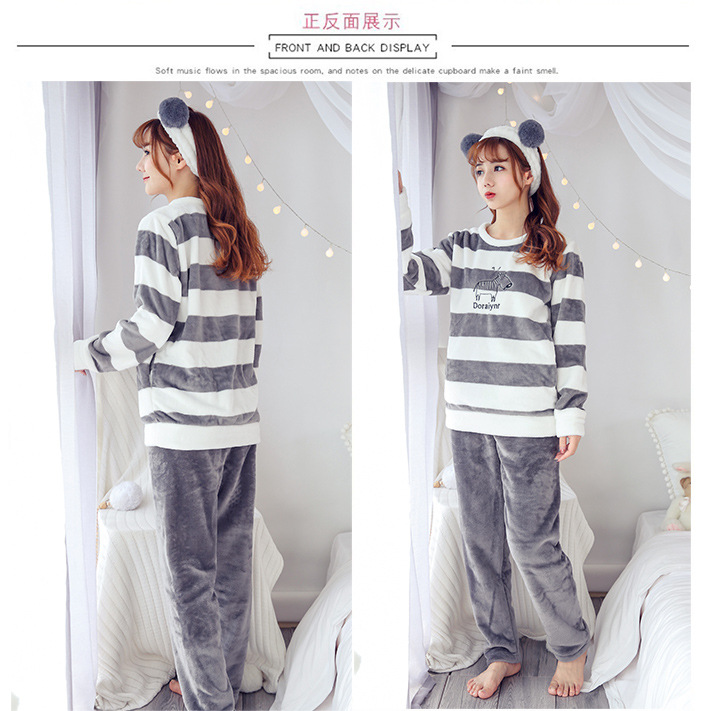 High Quality Women Pajama Sets Winter Soft Thicken Cute Cartoon Flannel Sleepwear 2 pcs/Set Tops + Warm Pants Home Clothes Mujer 106