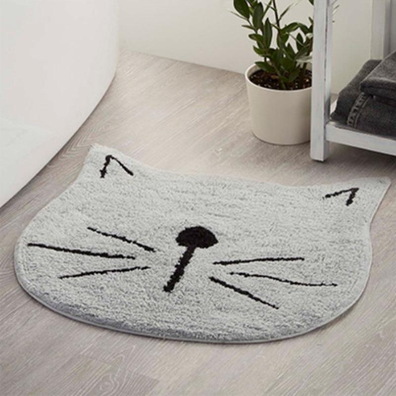 Tapis Cartoon chat microfibre salle de bain tapis cuisine chambre Absorption d'eau antidérapant tapis salle de bain tapis ensemble 60*60 cm blanc rouge gris