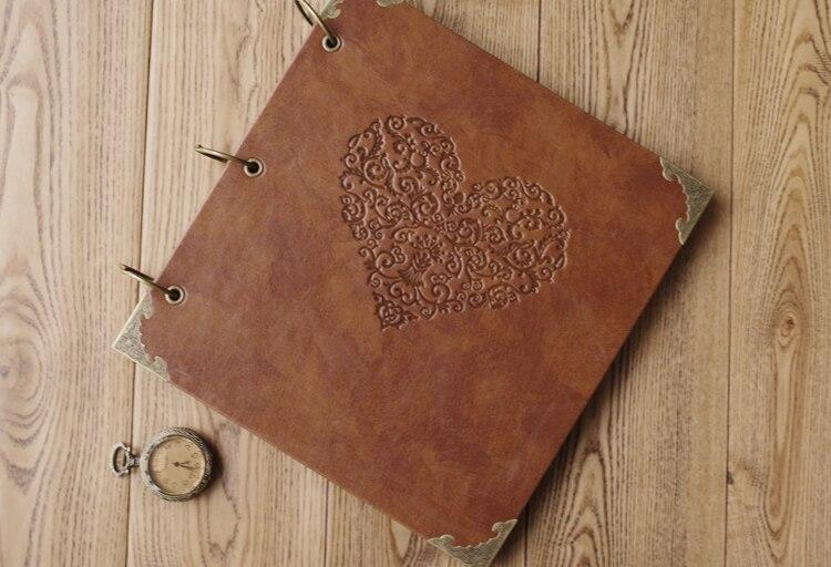 Haute qualité Vintage PU cuir 25 feuilles de papier noir carte mariage bricolage cadeaux Album Vintage Photo foto Scrapbooking Album