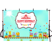 Mehofoto Cartoon Photography Backdrops Birthday Party Background Green Theme Banner Decoration Sunshine Props for Photo Shoot