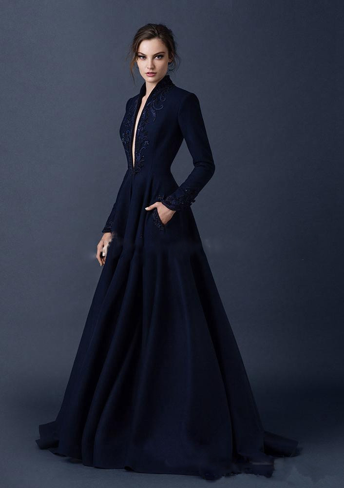 2016 Navy Blue Evening Dresses Long Winter Coat V Neck Embroidery ...