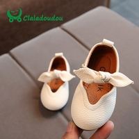 Claladoudou 2017 Spring Genuine Leather Toddler Girls Shoes Pink Bow Soft Dress Shoes Black Pure Infant