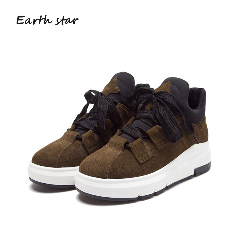 EARTH STAR Platform Shoes Women Warm Sneakers Crosstied Lady Real Leather Chaussure Winter Female Footware Cross-tied With Fur