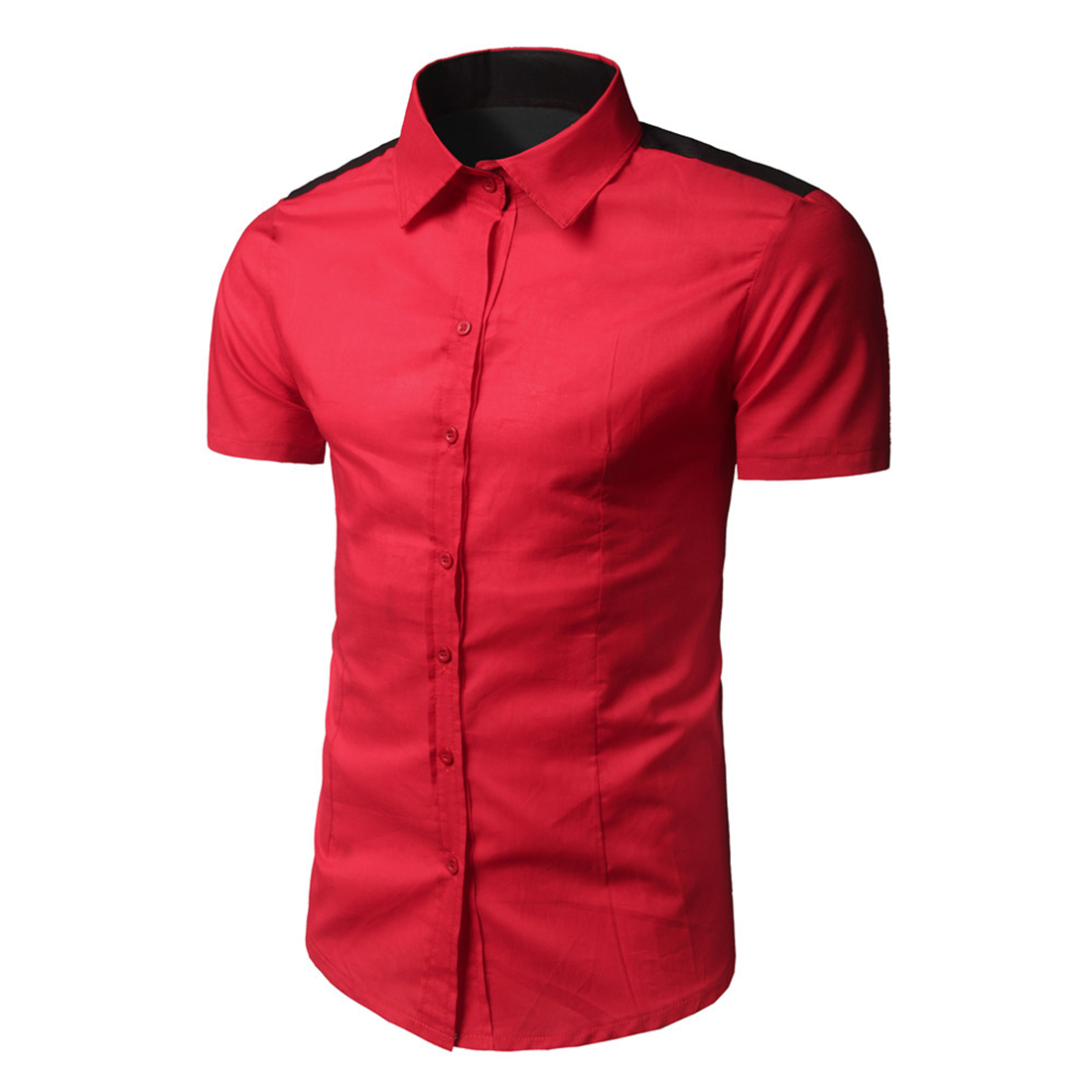 ea257c6faf Contraste color patchwork marca camisa hombres manga corta fitness negocio  oficina trabajo formal Camisas verano Rojo Negro Camisetas de tirantes  social