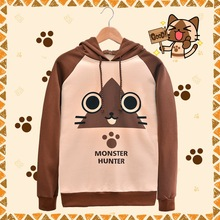 Monster Hunter Anime Hoodies Cat Airou Printed Hoody Harajuku Anime Sweatshirts Cotton Winter Jacket