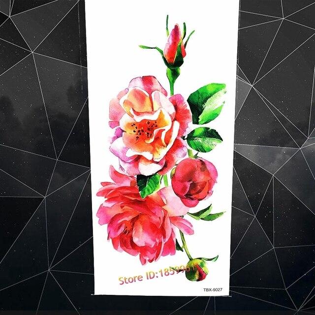 3d Aquarelle Fleur Rose Pivoine Indien Faux Tatouage Temporaire