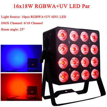 New 16x18W LED RGBWA-UV 6IN1 LED DMX Par Stage Light Projector Flat Par Light For Party DJ KTV Disco Night Club Christmas Lamps freeshipping 2xlot white shell battery wireless 6 18w flat led par light rgbwa uv 6in1 color mixing dmx 6 10 channels remote