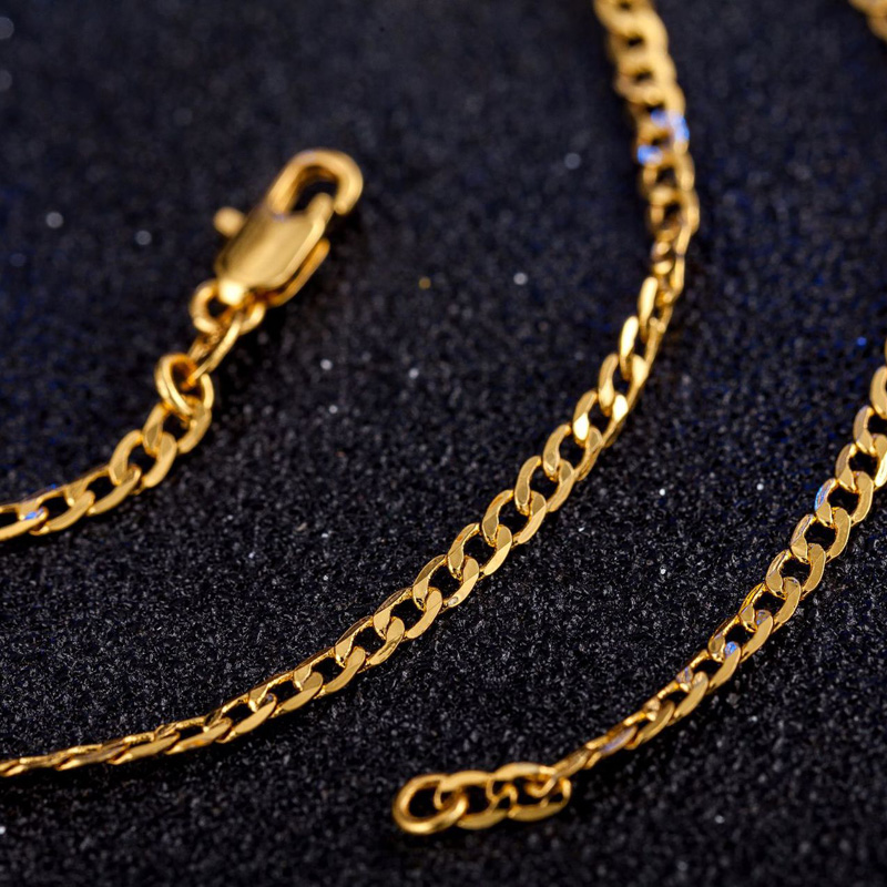 GNIMEGIL Brand Jewelry 2mm 16-30 inch Figaro Chains Necklaces Gold Color Link Chain Necklace for Men Fashion Necklace Chain Man