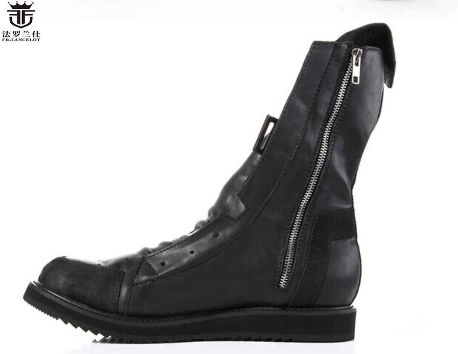 368e6210aea FR.LANCELOT 2019 fashion Chelsea Boots British Style Real Men leather Boots  flat heel men's booties lace up knight shoes