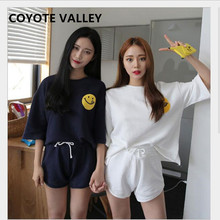 Summer hot style pajamas short-sleeved girl milk silk lovely sweet smiley pants casual home dress suit