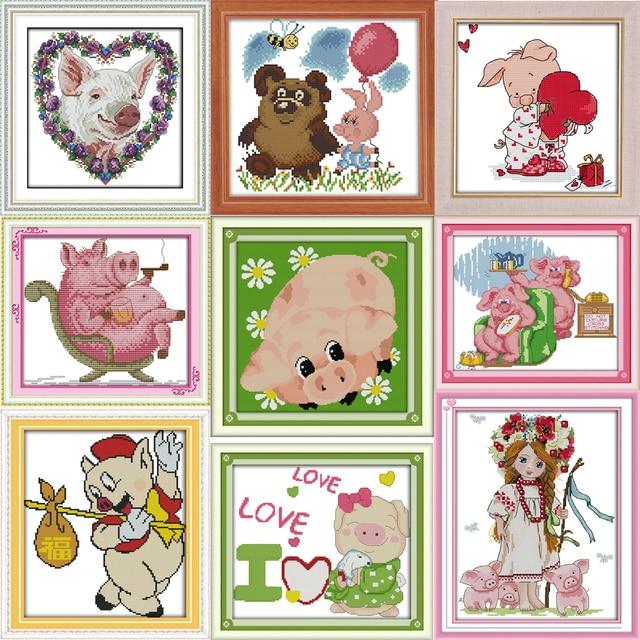 Joy Sunday Happy little pig Park Счетный Набор для вышивки крестом Набор для вышивки рукоделия