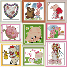 Joy sunday Happy little pig Park Counted Cross Stitch Kits Cross-stitch set Embroidery Needlework