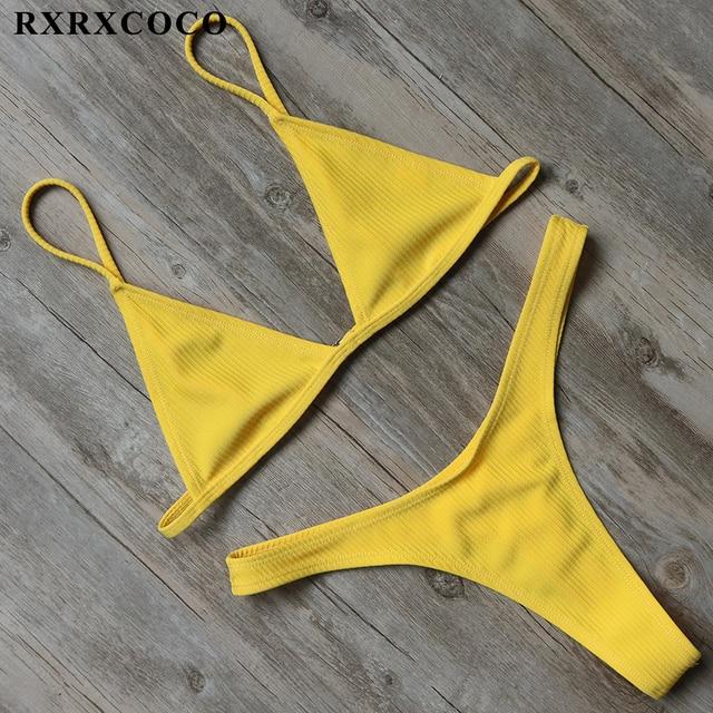 Sexy Solid Swimwear Women Bikini Set Thong Bottom Top Low Waist Beachwear Push Up Bandage Brazilian Swimsuit 5
