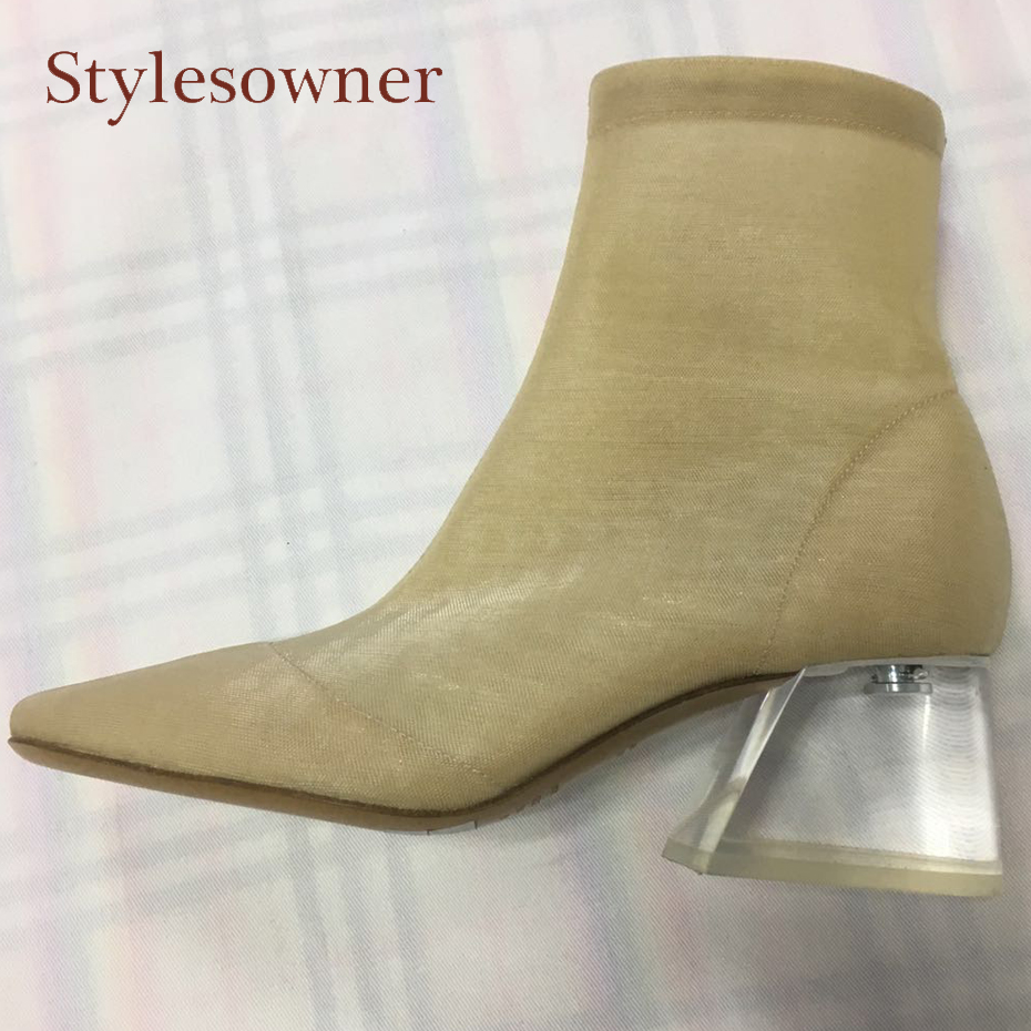 Stylesowner new style stretch breathable mesh ankle boots women sandals transparent crystal chunky heel round toe short boots