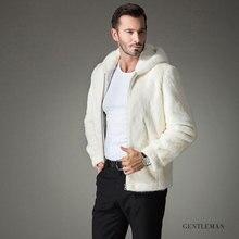 b 2018 New fur coat mens Imitation mink hooded jacket Pure white man