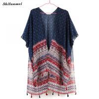 89ea0b403d Boho Casual Loose Summer Blouse Women Shirts Chiffon Kimono Cardigan Short  Sleeve Floral Printed Tassels Beach