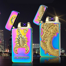Luxury USB Lighters Brand Windproof Flameless Electronic Cigarette Lighter High Quality 3D Relief Metal Double Arc Pulse Lighter