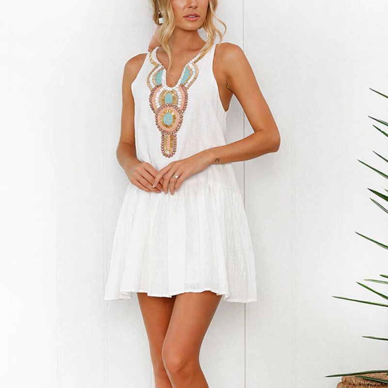 Sexy Club Party Women's Dress Casual Bohemian Loose Print New Summer Collar Sleeveless Slim Dress Vestidos