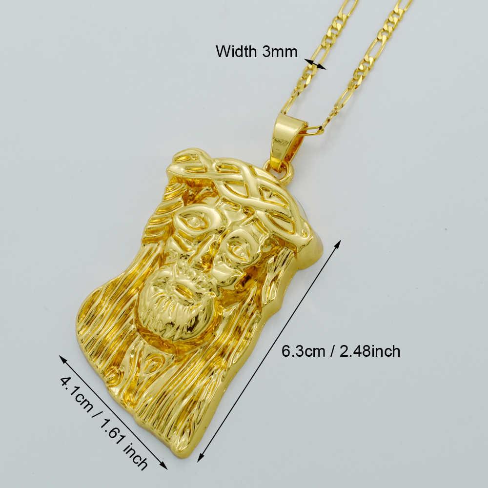 Anniyo Big jezus twarz wisiorek naszyjniki, złoty kolor jezus portret głowy Hip Hop Christian biżuteria dla mężczyzn #023106