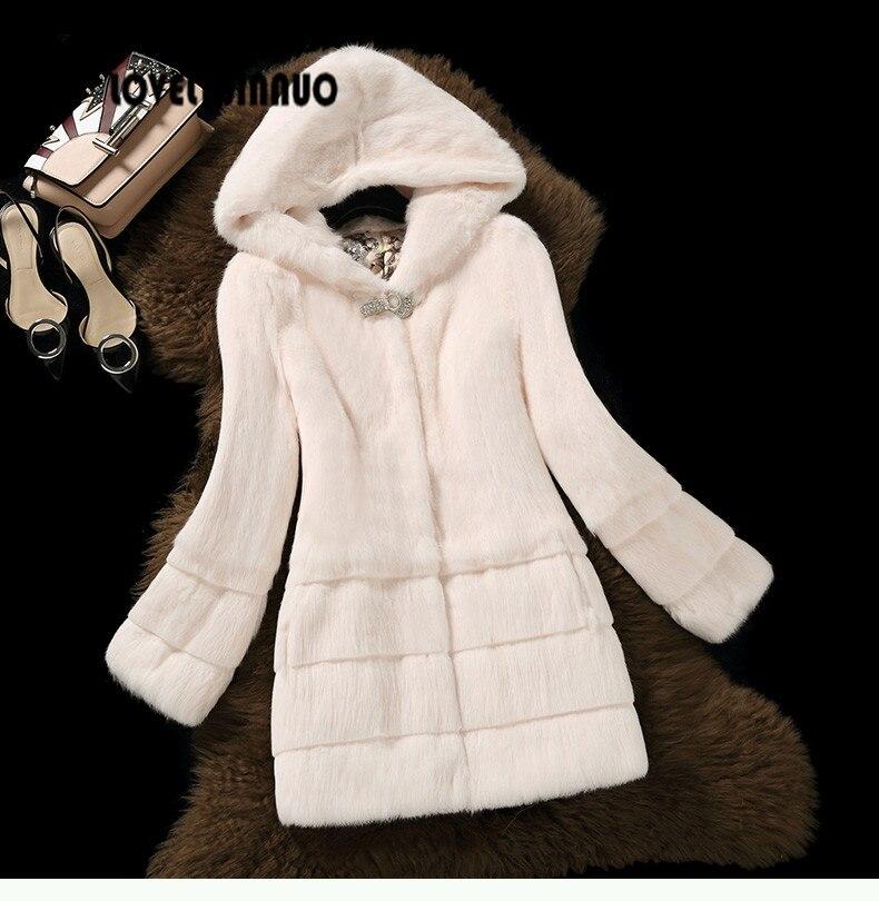 Free Shipping New Arrival Genuine Rabbit Fur Coat with hat Women full pelt rabbit fur jacket