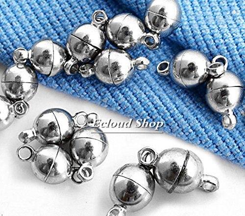 10 x Серебряный тон Цепочки и ожерелья Браслет Магнитная Застежка 6 мм Мода