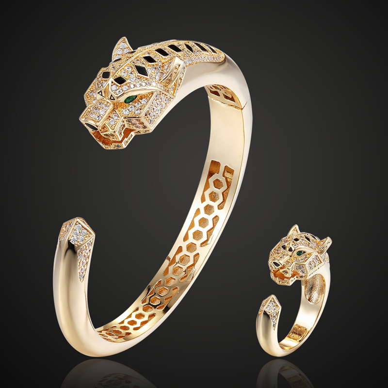 Brand Statement Tiger Animal Men's cubic Zircon Bangle And Ring Jewelry Sets Metal Copper Bangles Aneis for Men Jewelry