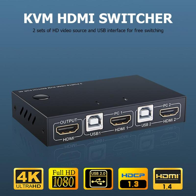 ALLOYSEED 2 Port HDMI USB KVM 4K Switcher Splitter For Sharing Monitor Keyboard Mouse Adaptive EDID/HDCP Decryption