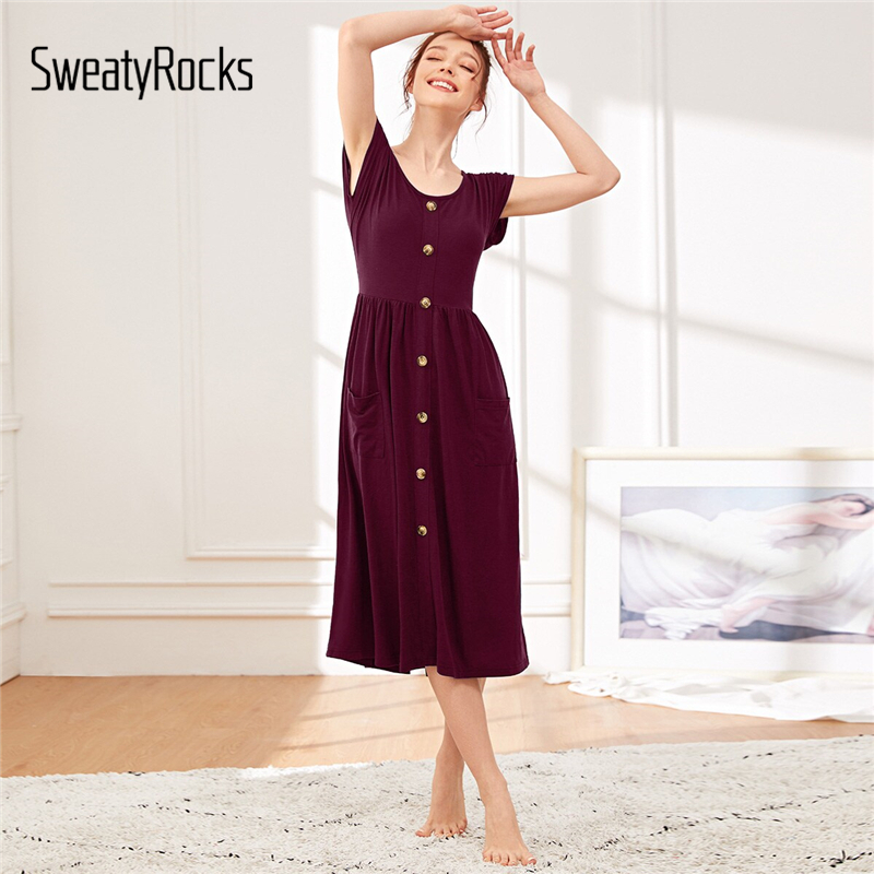 SweatyRocks Burgundy Pocket Front Button Detail Night Dress Summer Women 2019 Casual Solid   Nightgown   Short Sleeve   Sleepshirts