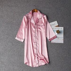 Image 4 - Women Sexy Nightgown Summer Autumn Night Dress Silk Dress Nightie Homewear Casual Blouse Satin Sleepwear Modis Shirt Nightwear