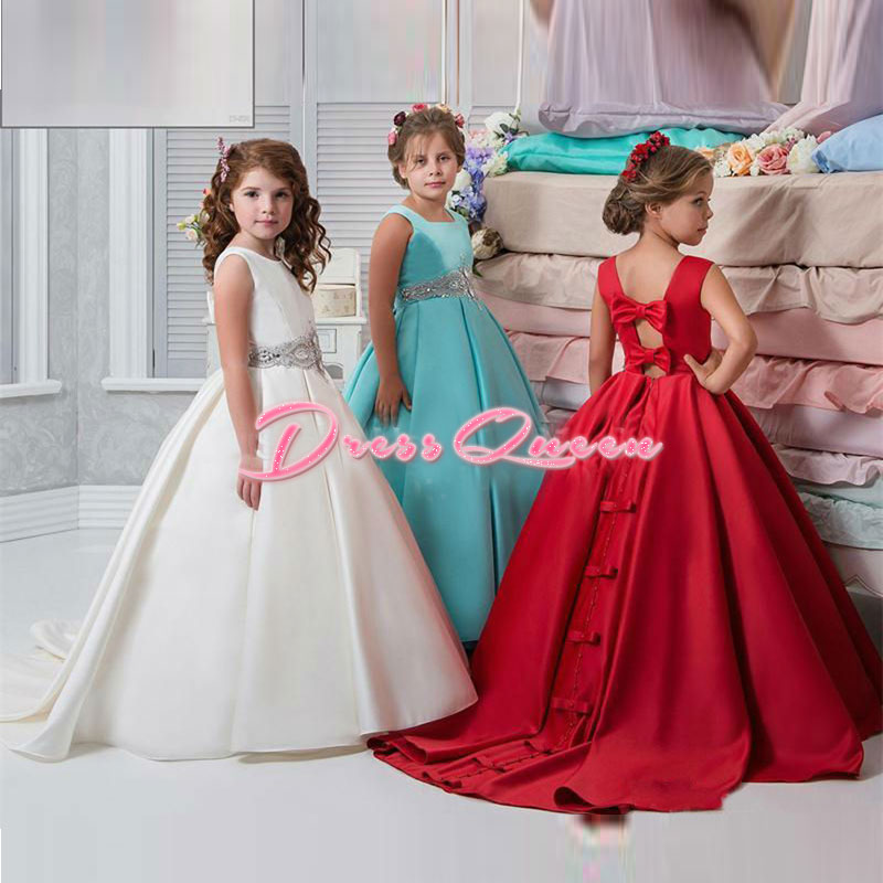 2017 Red/Blue Pageant Dresses Ball Gown Flower Girl Dresses Bow First Communion Dresses For Girls Birthday Party Dress Cheap ball gown short sleeves knee length summer flower girl dresses girls party pageant communion dress