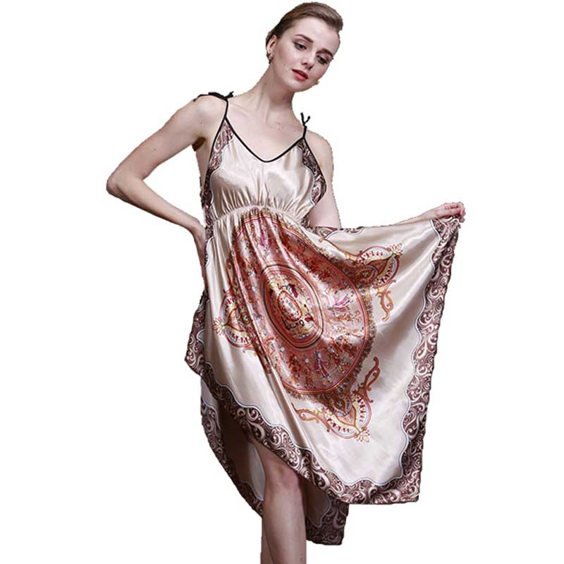 Tinyear Top Summer Faux Silk Ladies Pyjamas Of Home Suit Satin Print Women  Sleepwear For Sleep And Leisure -in Nightgowns   Sleepshirts from Underwear  ... 7a920645f023b