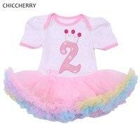 Розовое платье принцессы 2 лет платье на день рождения корона Платья для маленьких девочек Vestido Verano-пачка для младенцев Наряд для дня рожден...