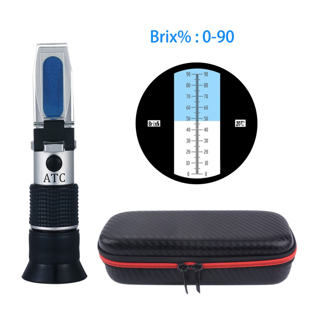 Handheld Wide-range 0-90% Brix Refractometer Honey Sugar Content Specific Measurement Tool use of Sugar Food Fruit BeveragesHandheld Wide-range 0-90% Brix Refractometer Honey Sugar Content Specific Measurement Tool use of Sugar Food Fruit Beverages
